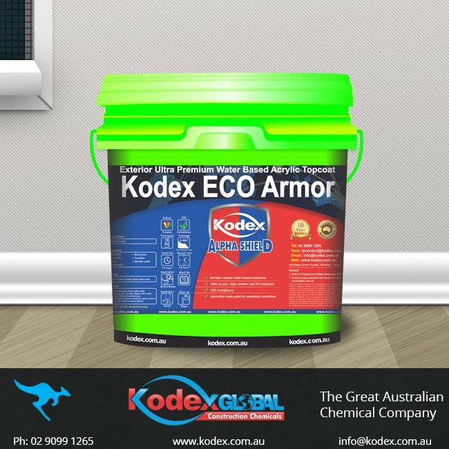 Reduce the risk of blistering and prevent your substrates from damage caused by harsh weather, sea salts and UV rays with Kodex ECO Armor. It can be used as long-term façade waterproofing as well as architectural decorative coating. To know more click: http://www.kodex.com.au/wp-content/uploads/2015/02/Kodex-ECO-armor.pdf  #Paints #Waterproofing #WaterproofingMembrane