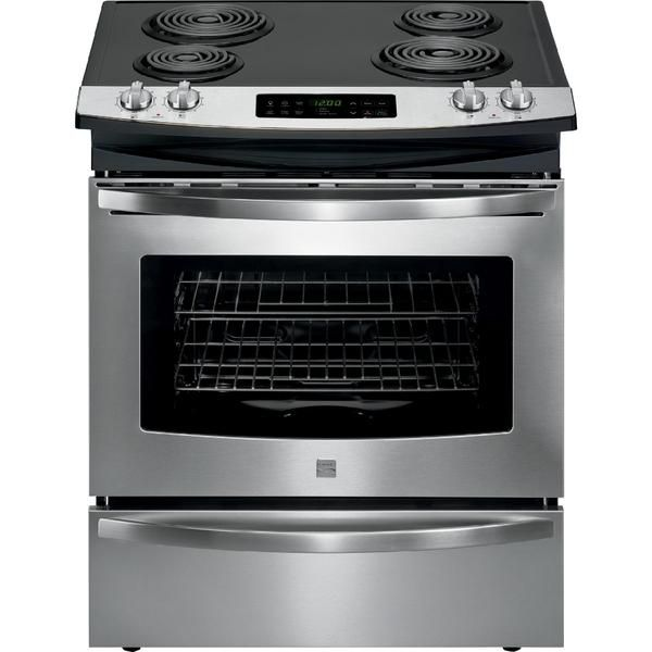 self clean slide in electric range deluxe coil elements stainless steel stoves for sale hood reviews gas stove cheap