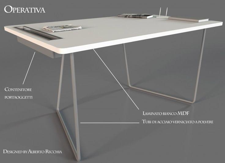 Operativa è una scrivania dal design minimalista. La scrivania è composta da un unico piano in MDF che poggia su una struttura tubolare in acciaio. Operativa si adatta ad ambiente diversi.