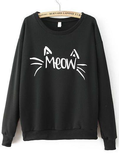 Sweat-shirt+lettre+imprimé+col+rond+-noir+11.11