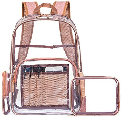 NiceEbag Clear Backpack with Cosmetic Bag & Case, Clear Transparent PVC Multi-pockets School Backpack Outdoor Bookbag Travel Makeup Quart Luggage Pouch Organizer Fit 15.6 Inch Laptop (Rose Gold) Made of Eco-Friendly PVC material, softer and more pliable, durable and reusable, waterproof and clear. Easy to see what you need and where it is. Compliant with TSA 3-1-1 rules and regulations of all airlines.Making the security process go more smoothly.Getting through airport securi