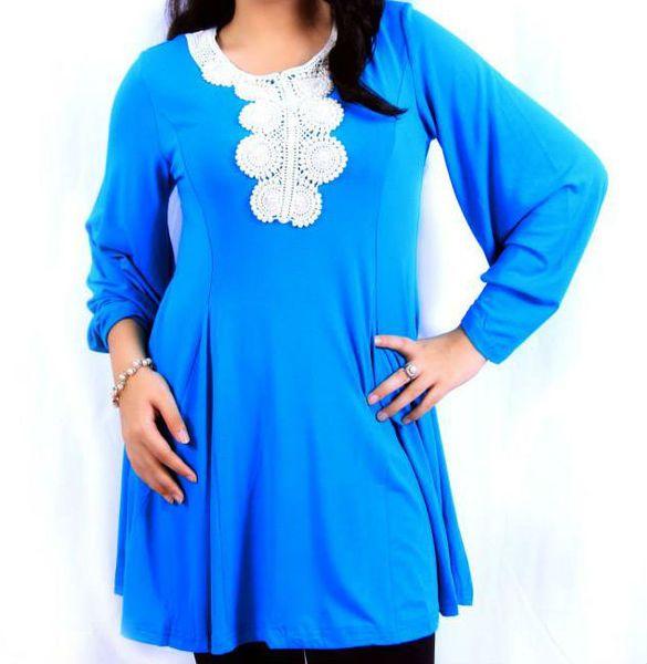 Tunic Blouse (Long Peplum With Lace Crochet) 2977-1-A