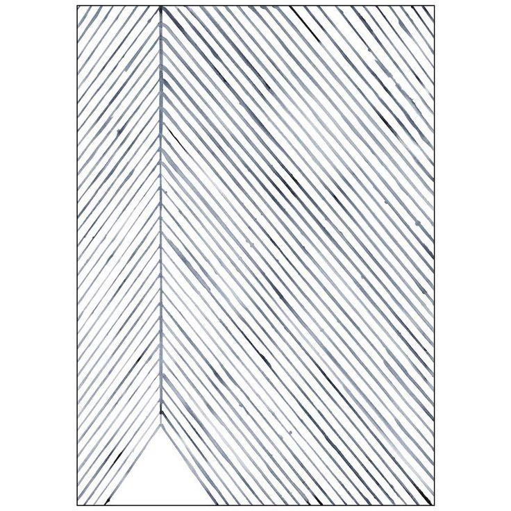 Silke Bonde plakat 50x70 leaf lines blue
