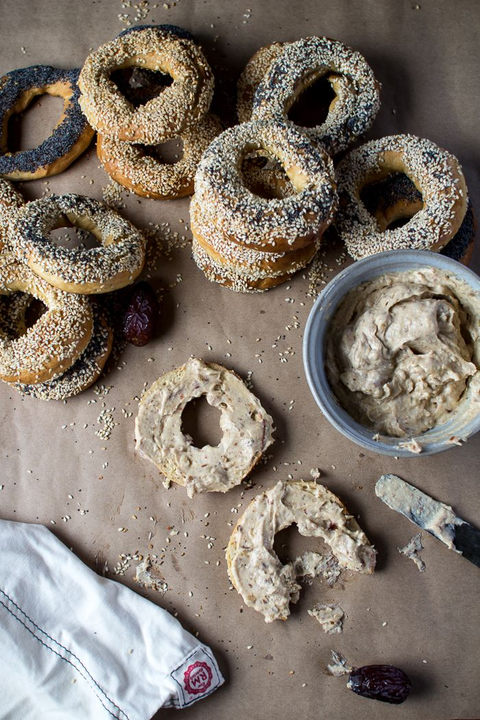 Montreal Style Bagels with Date and Walnut Cream Cheese