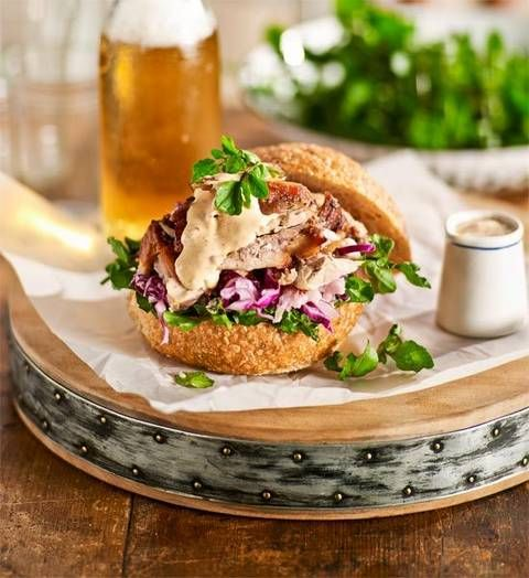 Pulled pork rolls with coleslaw and chipotle dressing: Melt-in-the-mouth pork has the added kick of chipotle chillies and crunch of freshly made coleslaw.