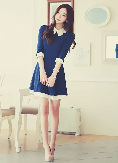 Navy Blue Dress Korean Fashion Aka Kfashion Korean