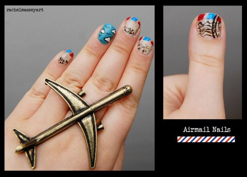I recently bought a beautiful airplane ring from Oldieshop on Etsy.  I was inspired by the ring and vintage airmail envelopes to create these nails. Also wore this to go watch The Wind Rises in Birmingham, quite appropriate. The nail look on MakeupBee