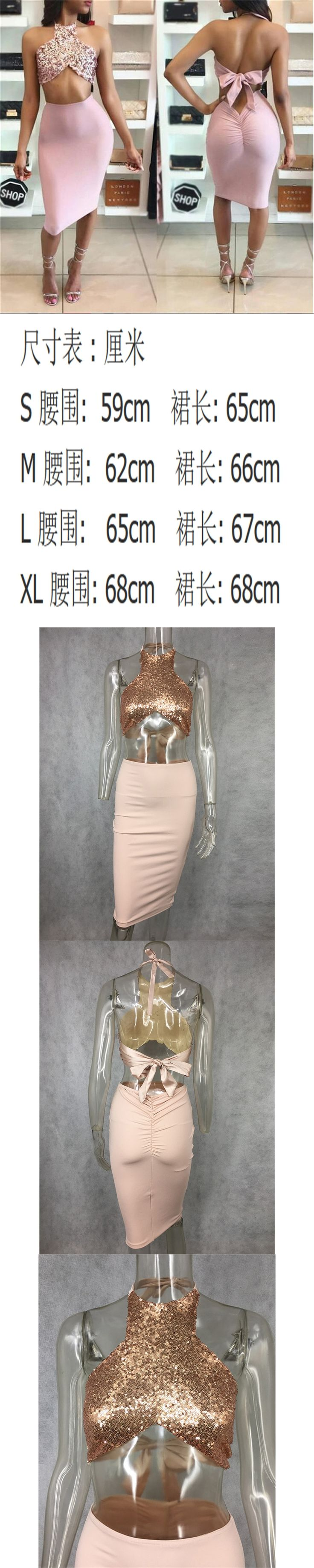Women Sexy  perspective Rose Gold strap hang Milk silk + sequins backless  V Neck Sleeveless Slim  Two-piece Skirt  Set 	W2164