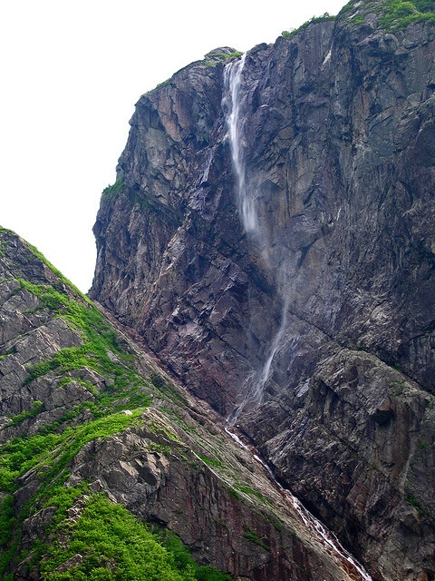 Highest waterfall in eastern North America at Gros Morne National park, Newfoundland. (1,850 feet).