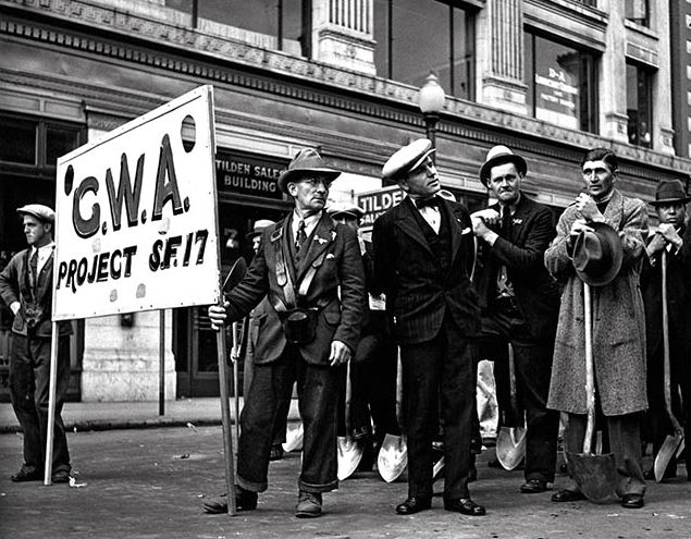 John Gutmann Civil Works Administration Workers Waiting to Join a Funeral Procession for Workers Killed by Police During the General Strike, San Francisco 1934