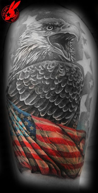 Bald Eagle and US Flag Half Sleeve