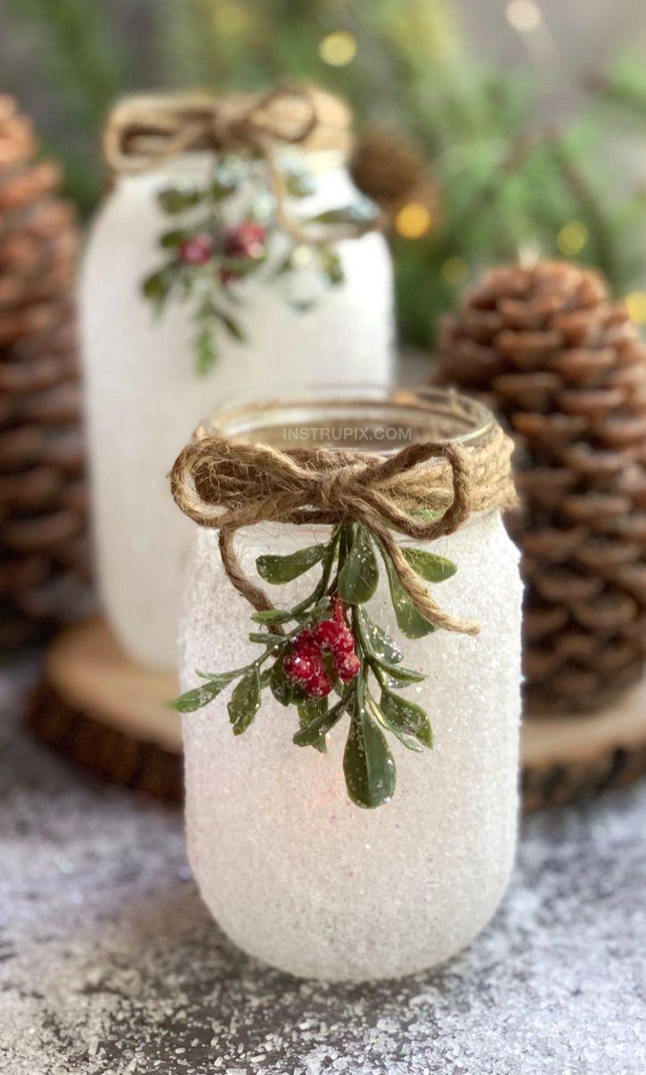 DIY Christmas Craft Snowy Mason Jar Tea Light Holders