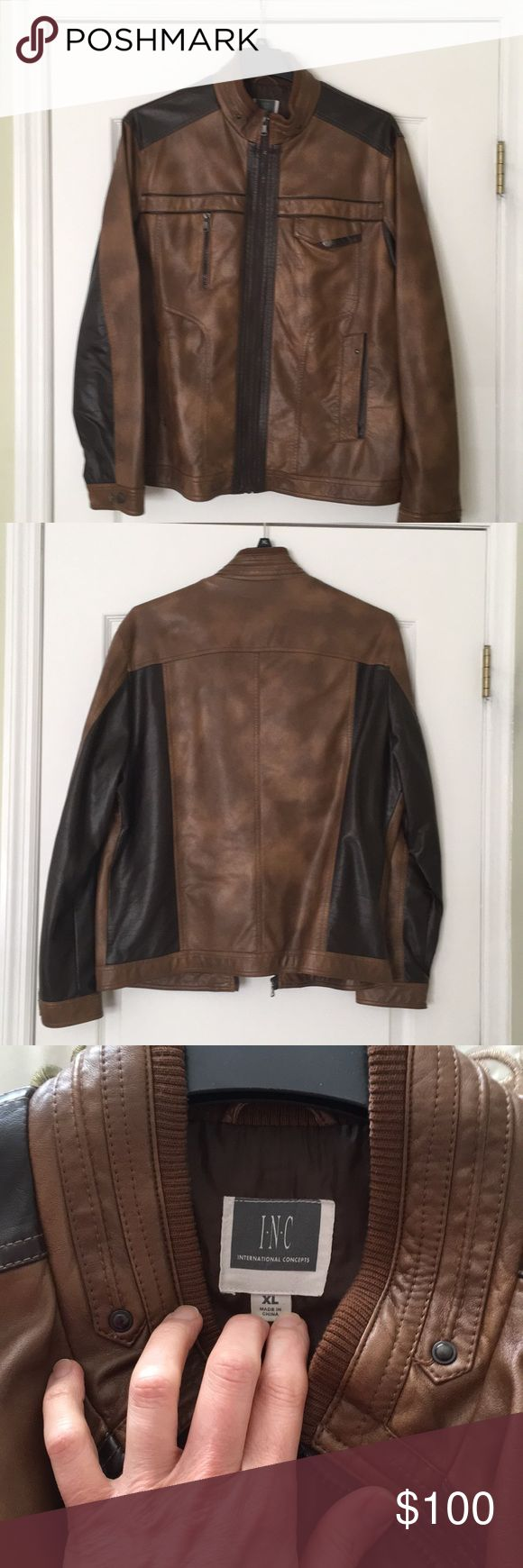 Two tone brown faux leather men's jacket. Two-tone brown faux leather men's jacket INC International Concepts Jackets & Coats Lightweight & Shirt Jackets