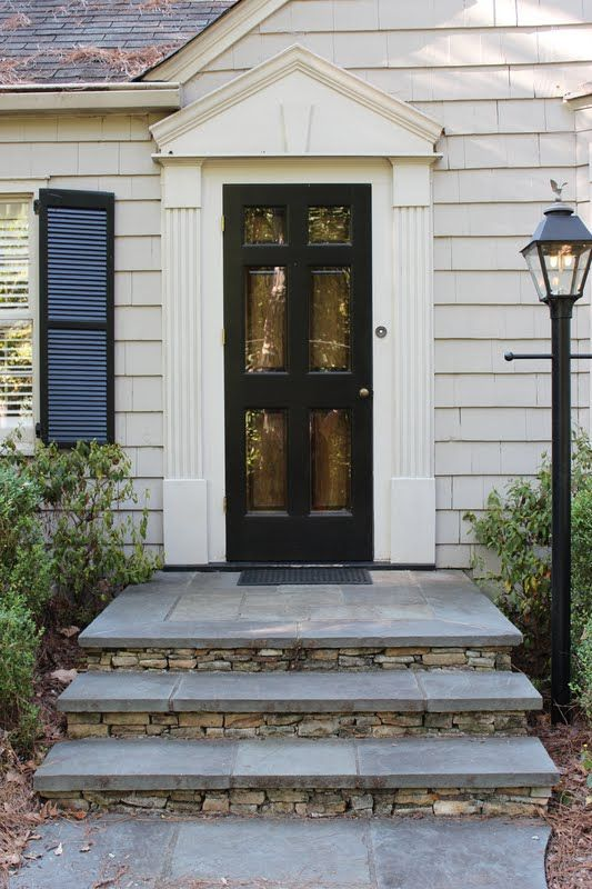 Door stoop front stoop for a traditional entry with a for Front door stoop ideas