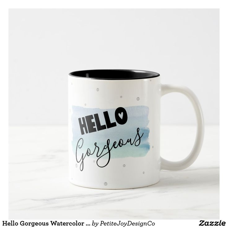 Hello Gorgeous Watercolor Paint Mug on Zazzle