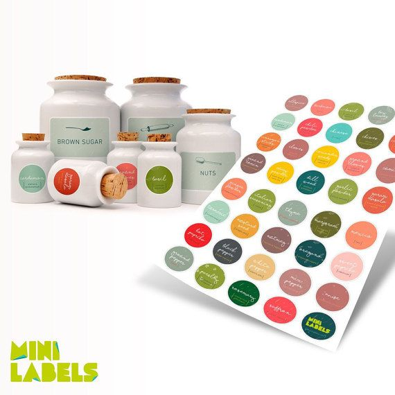 Labels for spice jars circle by Minilabels on Etsy