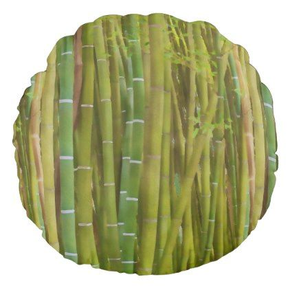 Closeup of bamboo stalk - painting round pillow - decor gifts diy home & living cyo giftidea