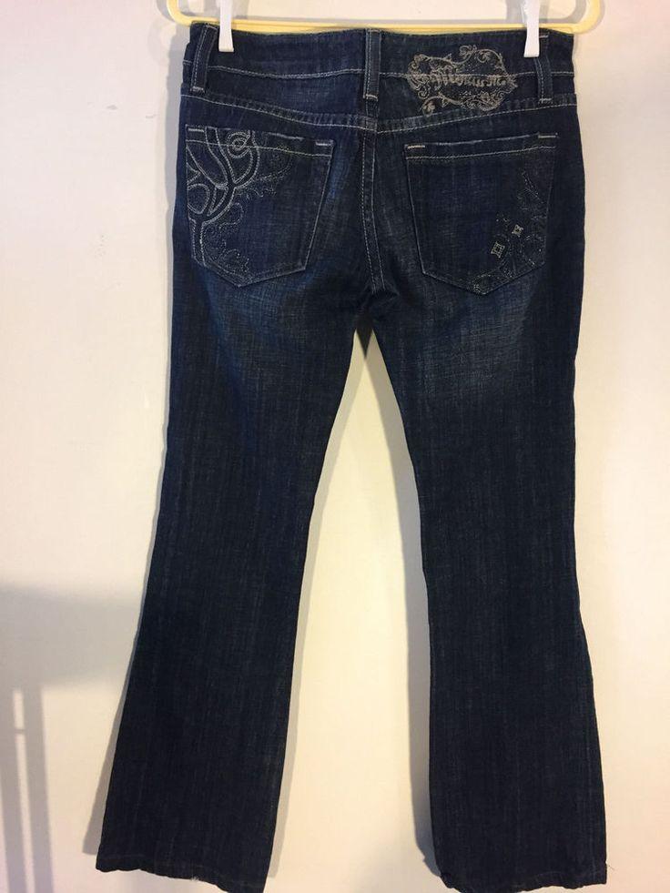 Miss Me Womens Jeans Dakota Bootcut Embroidered Back Pocket Dark Denim Size 27 #MissMe #BootCut