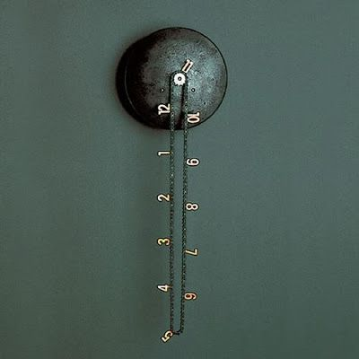 This wall clock comes with copper numbers attached to a bikechain that rotates around a single motorized gear.