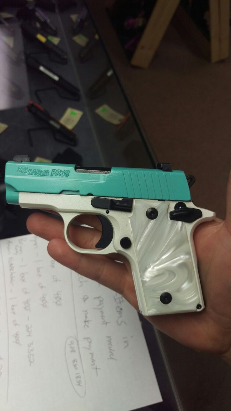 Sig Sauer P238 Robbin Egg Blue With Pearl White Frame In