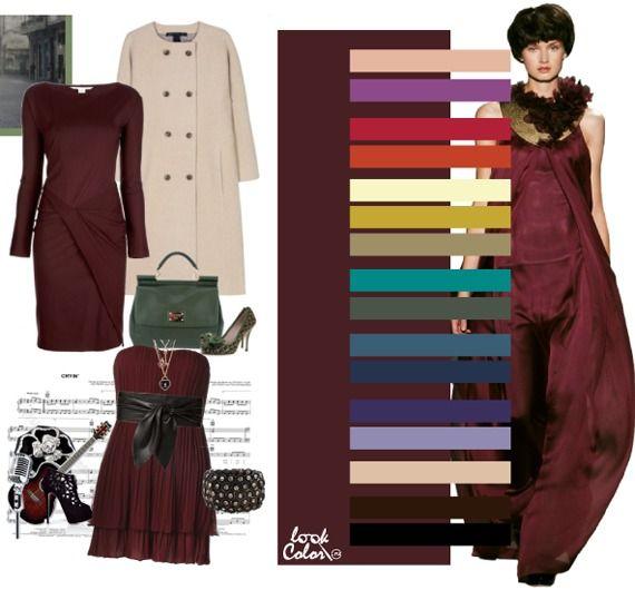 Бордовый цвет сочетается с бежево-розовым, лиловым, с цветом розы или «горячие губы», с рыжим, бело-желтым, золотым, цветом американской полыни, с «атлантидой», цветом лягушка в обмороке, балтийским, кобальтовым, красно-фиолетовым, глициновым, светло-бежевым, темно-коричневым, черным