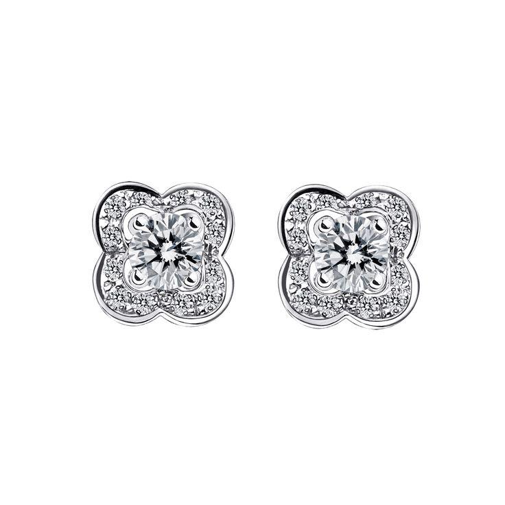 Boucles d'oreilles Chance of Love, or blanc et diamants - Mauboussin