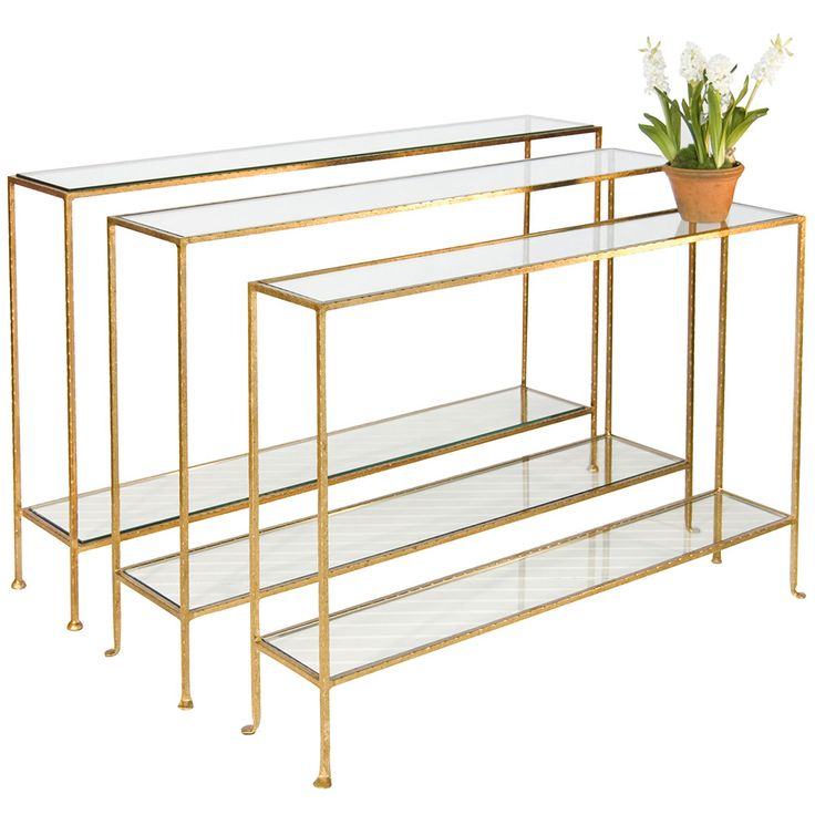 Hammered Gold Leaf Skinny Console Table – 3 Sizes