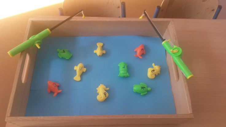 laat de kinderen de visjes met de letters opvissen en vervolgens een woordje bedenken dat begint met deze letter