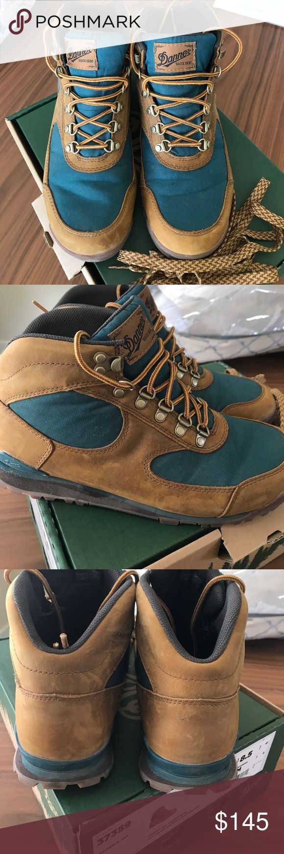 Danner Jag Hiking Boots Worn once Danner hiking boots. Fit true to size for me. Color is a brown and dark teal. Extra set of laces. Great boots, ideal for day hikes- selling because I needed boots for a longer trek. Smoke free home. Danner Shoes Lace Up Boots