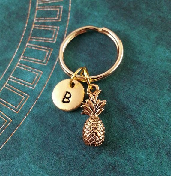 Pineapple Keychain SMALL Fruit Key Ring Personalized Tropical Necklace Custom Keychain Pineapple Charm Gift Hand Stamped Pineapple Necklace
