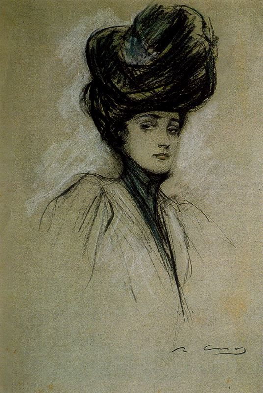 "Ramón Casas, Julia c.1900, Pastel I've always loved the ""Gibson Girl"" look"