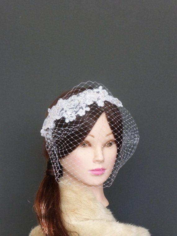 White lace Blusher Bandeau Birdcage Veil Netting vintage inspired Fascinator Crystals Pearls Sequins Wedding Bridal Hairpiece READY TO SHIP