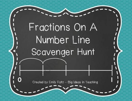 Fractions On A Number Line Scavenger Hunt Activity...FUN! from Big Ideas in Teaching By Emily on TeachersNotebook.com -  (16 pages)  - Practice the skill of identifying fractions on a number line with this fun activity. Print out the cards and tape them around the room. Kids will go on a scavenger hunt and solve each card on the recording form. This is a great way to get 100% active part