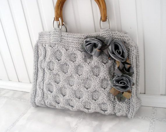 Gray knitted tote bag Spring office fashion Wedding by HeartyGift, $49.80