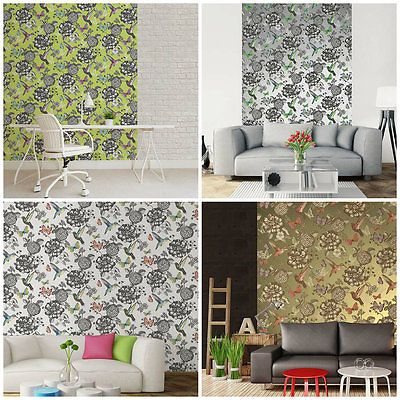 Utopia Feature Wallpaper - Coloroll - Birds - Butterflies - Shabby Chic - Wall