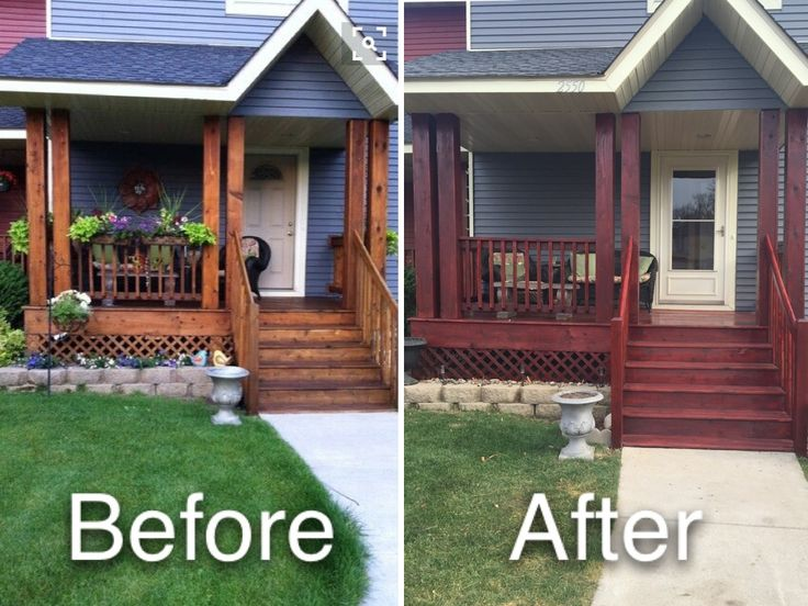Restained diy cedar deck porch with Cabot Gold Fireside ...