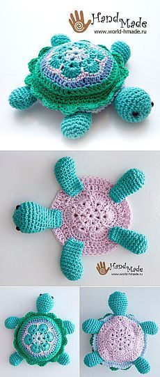 Tina Turtle: Knit motivo crochet de & quot; Africano Flor & quot;.