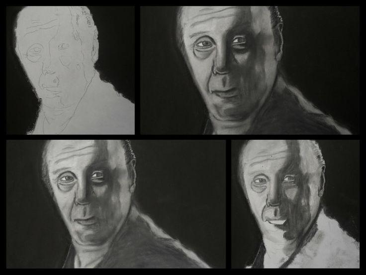 A3 Charcoal Drawing. Chief Wayne Unser, SOA (Dayton Callie)