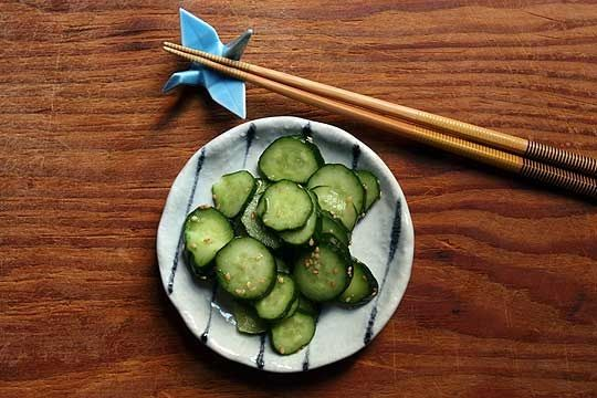 This recipe is a great way to use up cucumbers. Pickled cucumbers are traditionally served as an accompaniment with rice or sushi, but feel free to serve any way you like.