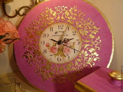 Часы для дома ручной работы. Ярмарка Мастеров - ручная работа. Купить Настенные часы Сказочная фуксия. Handmade. Фуксия, на стену  #walldecor #clocks