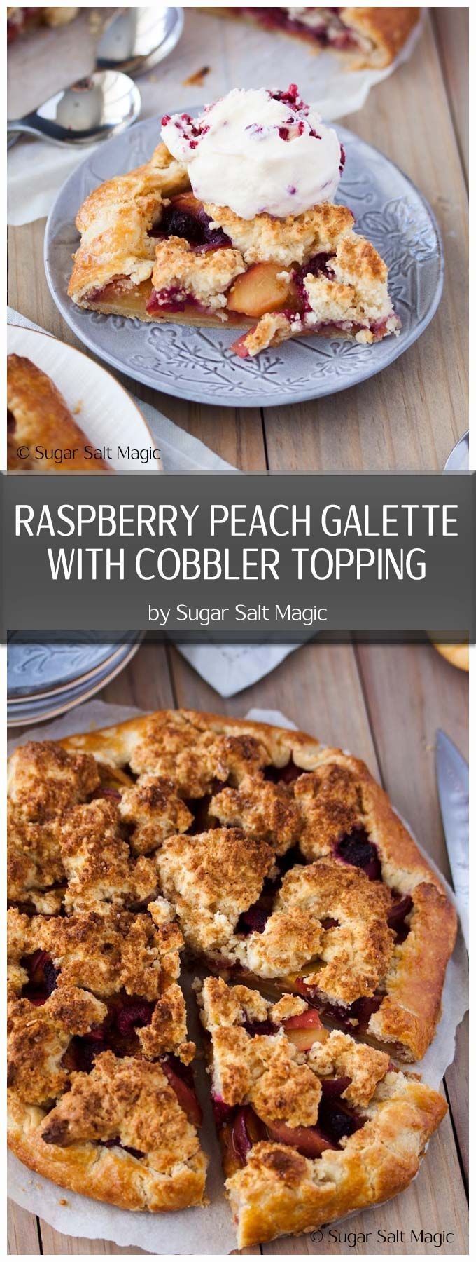 This Raspberry Peach Gallette with Cobbler Topping is a free form tart with an easy peach cobbler filling #peachcobbler #peachgalette   via @sugarsaltmagic