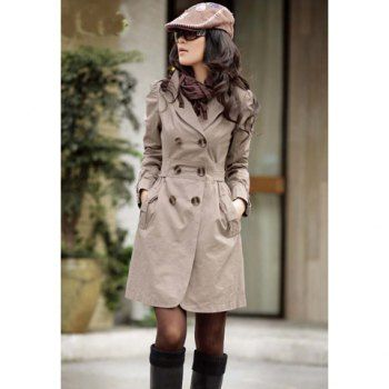Sophisticated V-Neck Double Breasted Bow Tie Belt Long Sleeves Cotton Blend Women's Coat, GRAY, ONE SIZE in Jackets & Coats   DressLily.com