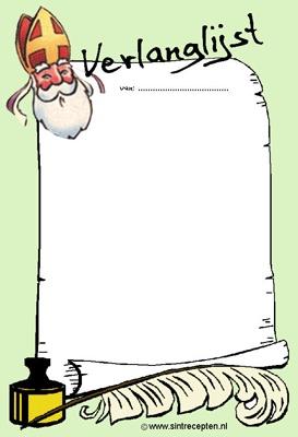 Sinterklaas verlanglijstje. Vast over nadenken!!