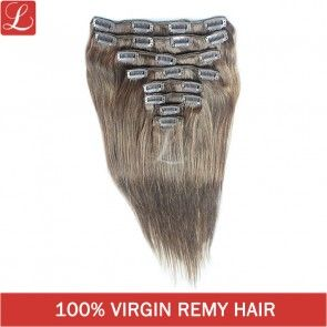 Brown Color #4 Straight Remy Human Hair 20clips 8pcs/set Clip In Hair Extensions http://www.latesthair.com/