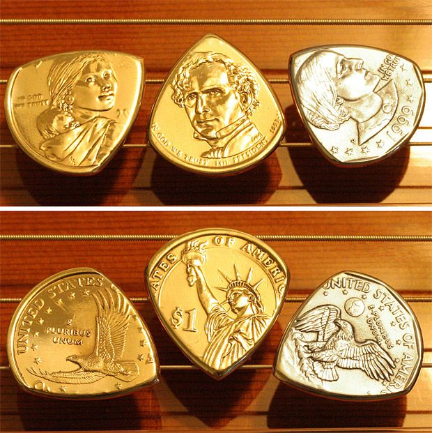 These coin guitar picks are a cool idea for the musician in your life!