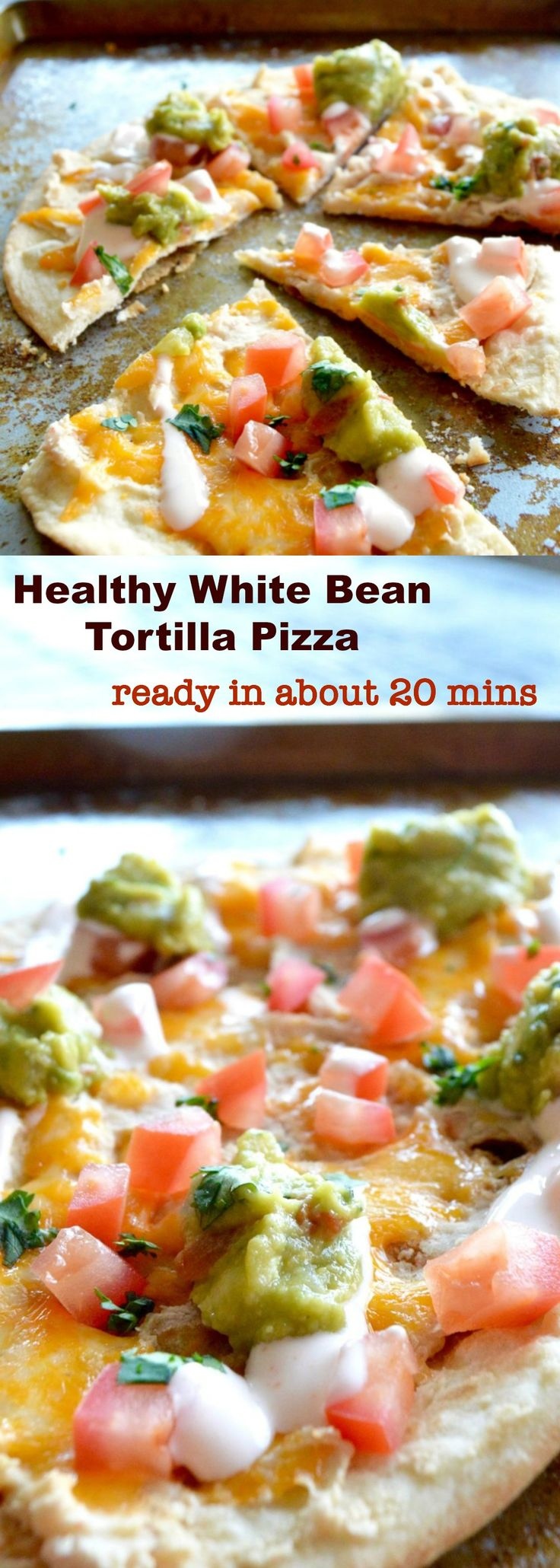 A healthier appetizer option that you can make in less than 30 minutes! Crispy tortilla crust, topped with smooth beans, fresh guacamole, cheese and tomatoes! via @westviamidwest