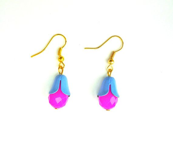 Blue and fuschia earrings Neon jewelry Bell by BloomingbirdFactory, €20.00