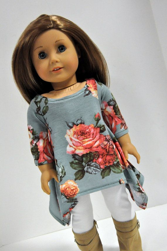 Gray and pink roses tunic top by CircleCsewing on Etsy. Made following the Twirly Tunic pattern, found here http://www.pixiefaire.com/products/twirly-tunic-18-doll-clothes.  #pixiefaire #twirlytunic