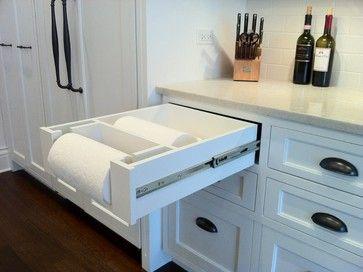Add storage drawer behind paper towel holder