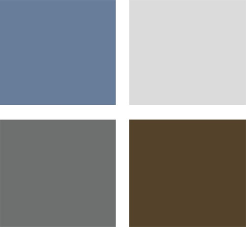Warm, modern, elegant palette (clockwise from top left):    Blue: Pittsburgh Paint 353-5 (Aqua Blue)  Light Grey: PP 554-3 (April Sky)  Brown: PP 416-7 (Seal Skin)  Dark Grey: PP 541-6 (Gray Flannel)